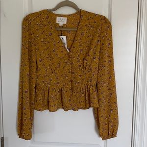 NWT Lost and Wander Peplum Floral Blouse